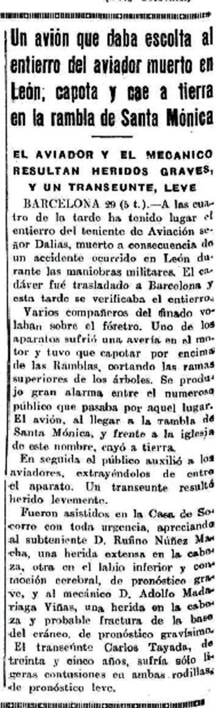 El avión que se estrelló en las Ramblas de Barcelona - El Heraldo