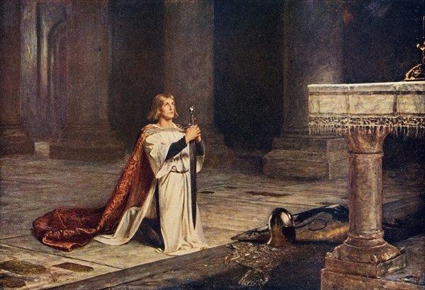 "Caballero medieval velando sus armas. ""La vigilia"" 1884"