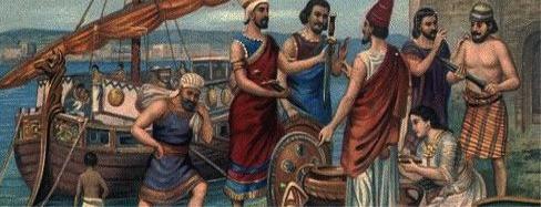 Mercaderes fenicios comerciando